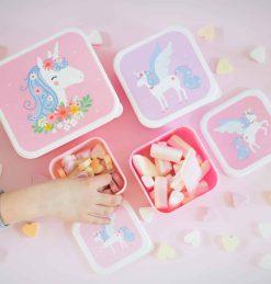 A Little Lovely Company Lunch & snack box set: Eenhoorn
