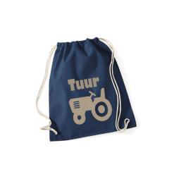 Gymtas donkerblauw met opdruk - traktor + naam - 100% katoen