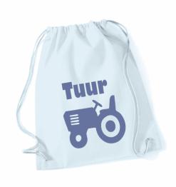 Gymtas pastelblauw met opdruk - traktor + naam - 100% katoen