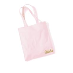 Draagtas pastel roze met opdruk - Naam - 100% katoen