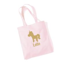 Draagtas pastel roze met opdruk - Unicorn + naam - 100% katoen