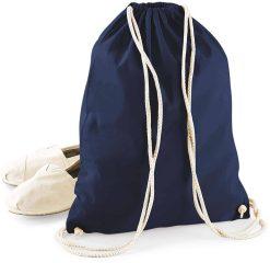 Gymtas donkerblauw met opdruk - dino + naam - 100% katoen