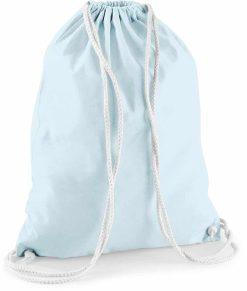 Gymtas pastelblauw met opdruk - dino + naam - 100% katoen