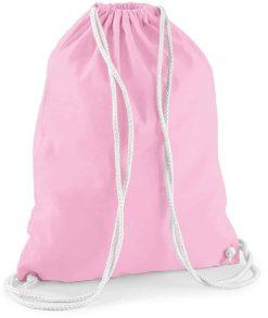Gymtas roze met opdruk - hertje + naam - 100% katoen