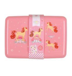 A Little Lovely Company broodtrommel Paard 18 cm roze