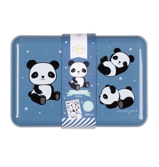 A Little Lovely Company broodtrommel Panda 18 cm zwart/blauw