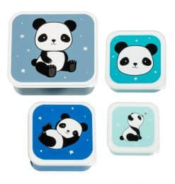 A Little Lovely Company lunchset Panda junior blauw 4-delig
