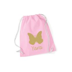 Gymtas roze met opdruk - vlinder + naam - 100% katoen