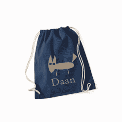 Gymtas donkerblauw met opdruk - vos + naam - 100% katoen