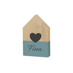 Houten huisje grijs blauw met hartje en naam