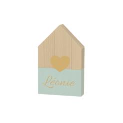 Houten huisje met hartje - Mint - 9 x 15 cm