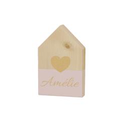 Houten huisje met hartje - Roze - 9 x 15 cm