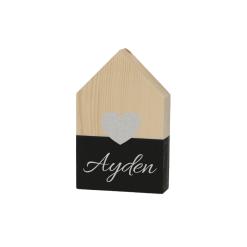 Houten huisje met hartje - Zwart - 9 x 15 cm