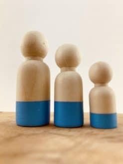 Houten poppetje mannelijk - Hemelsblauw