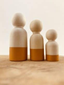 Houten poppetje mannelijk - Okergeel