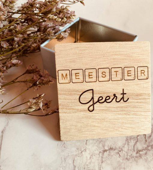Vierkant doosje met houten deksel - Meester