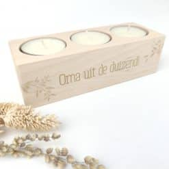 Theelichthouder met gravure Olive - 3 theelichtjes