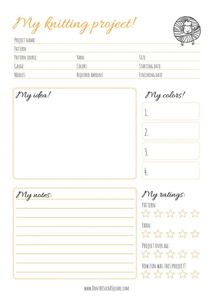 Don't Be Such a Square | My Knitting Project – Free printable knitting journal sheets for your crafting binder | #printable #binder #knittingproject