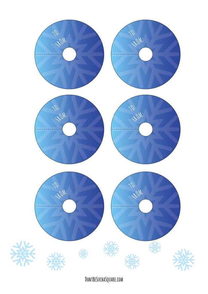 Don't Be Such a Square | Free printable winter-themed tags to embellish your gift wrapping | Shades of blue and snowflakes! #giftwrapping #gifttags #tags