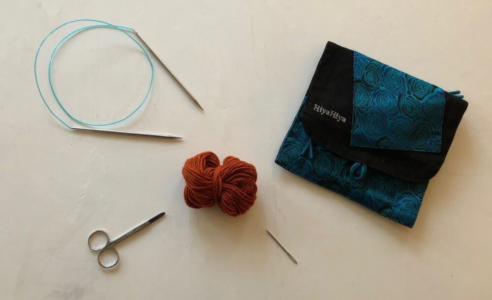 How to Cast on Circular Needles. A picture of the materials needed for this series of tutorials. Circular knitting needles, yarn, scissors and a darning needle.