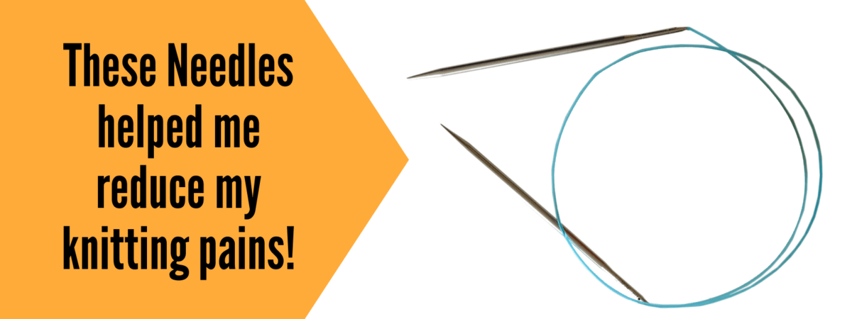 A graphic showing a pair of HiyaHiya interchangeable knitting needles  and the text: These needles helped me reduce my knitting pains!