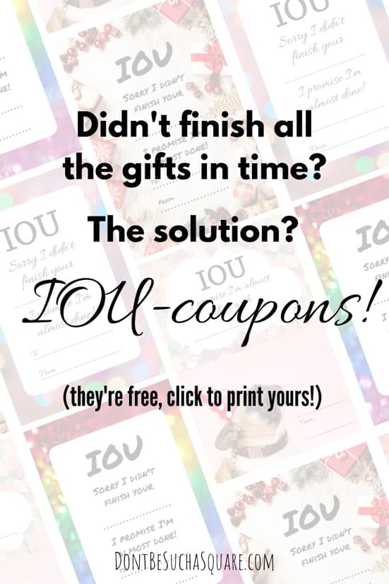 IOU-coupons | Handmade gifts takes time and some times we doesn't manage to finish in time. Then we use IOU-coupons! #IOU #IOU-coupons #HandmadeGifts #Knitting #Crafting #Crochet