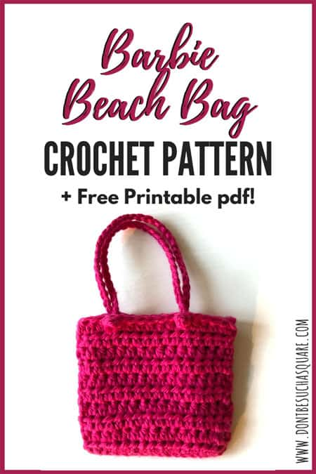 Barbie Crochet Beach Bag Pattern   Crochet this cute and super easy bag for Barbie to carry her things in when going to the beach! Free printable pdf pattern. #Barbie #CrochetPattern #Crochet #BarbieAccessories