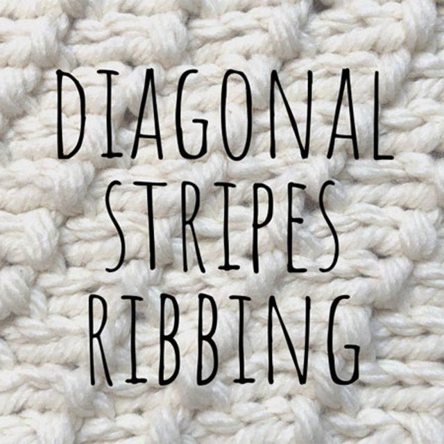 Diagonal stripes ribbing knitting pattern