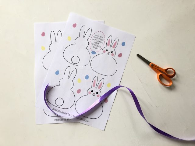 All you need to make this bunny bunting is the printed files, scissors, tape and some wrapping ribbon or yarn.