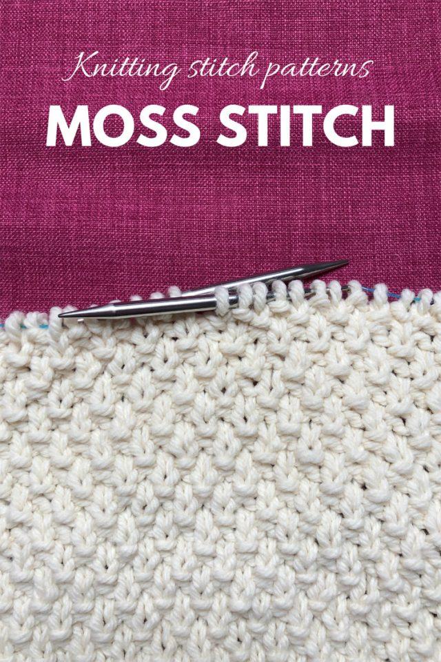 Moss stitch knitting with the text knitting stitch patterns: Moss stitch