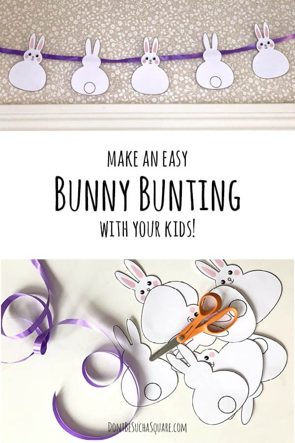 Bunny cutouts, a scissor and some wrapping ribbon on a table