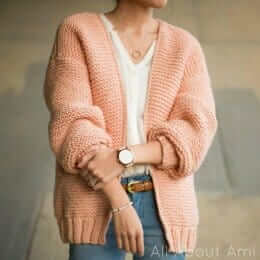 Downtown cardigan knitting pattern by  designer Stephani Lau