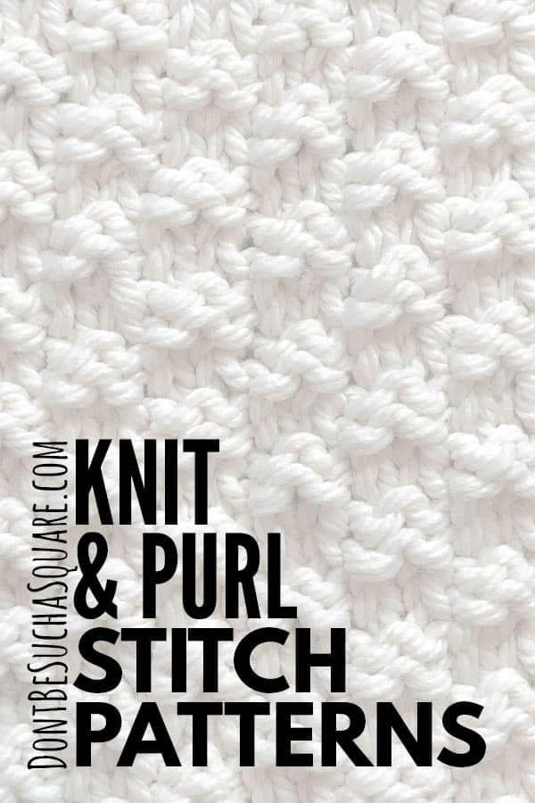 Knit and purl knitting stitch patterns library