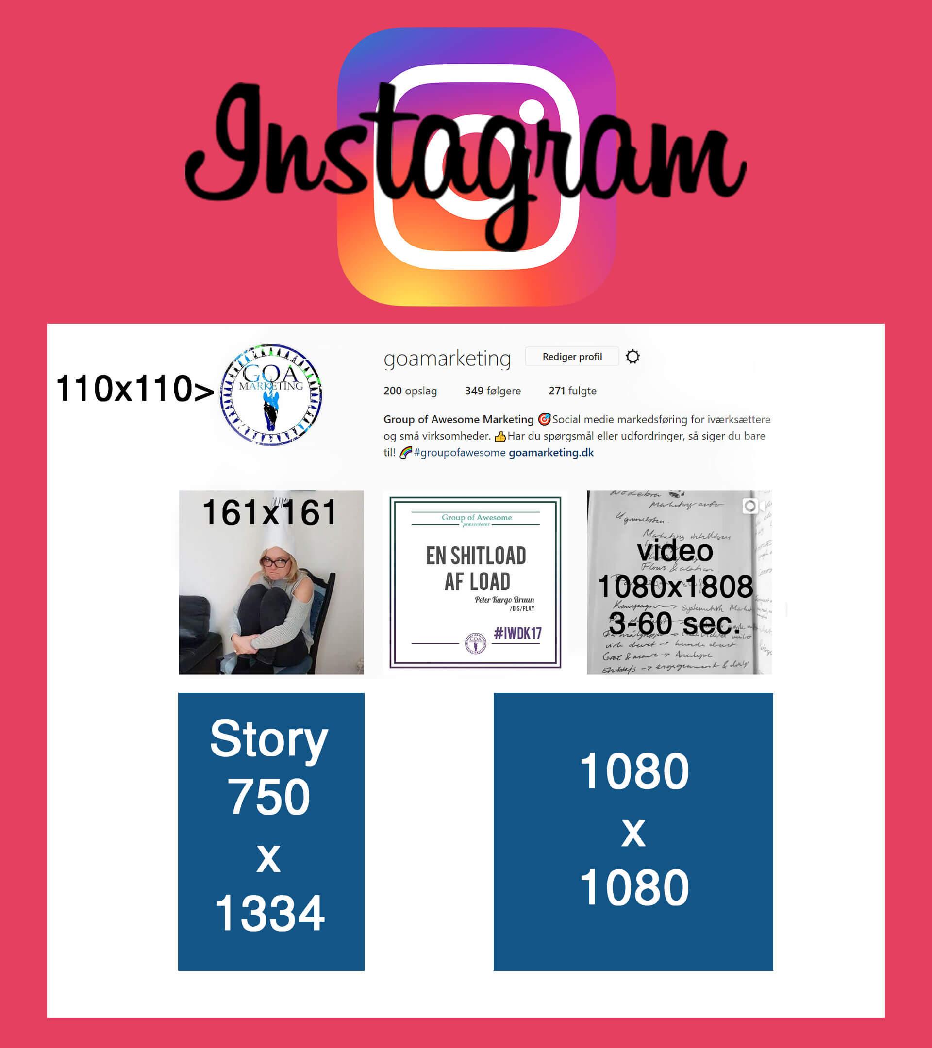 Instagram billedstørrelser CheatSheet