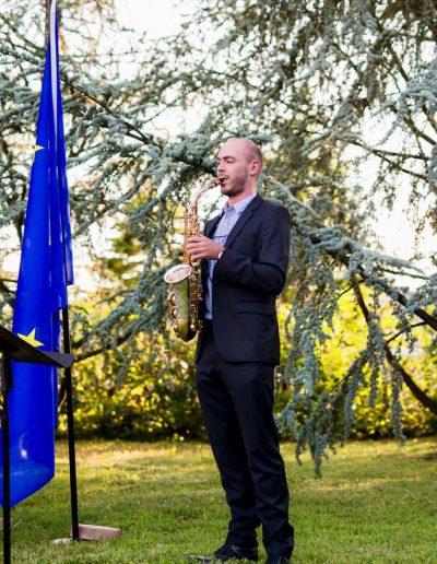 Saxofonist Jeroen Vanbever op de Nationale feestdag in de Ambassade van België te Zagreb.