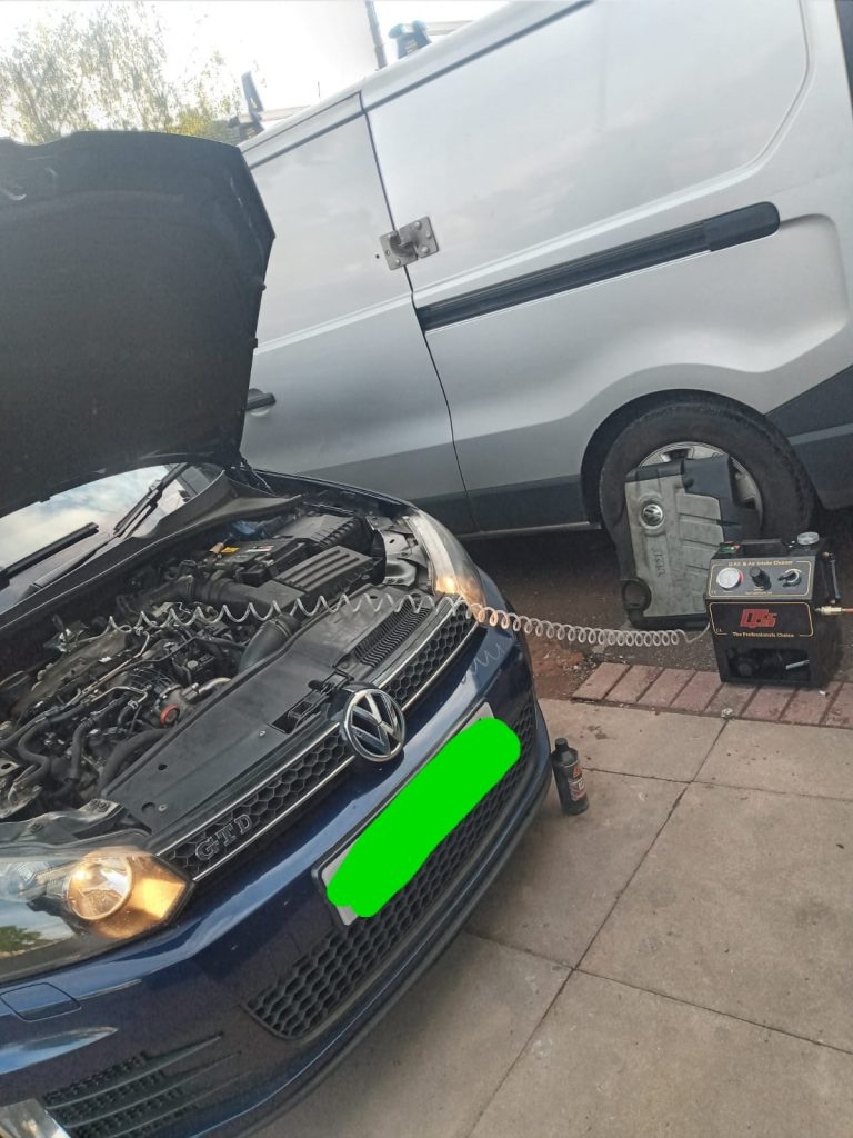 VW Golf car Mobile DPF cleaning process in Birmingham