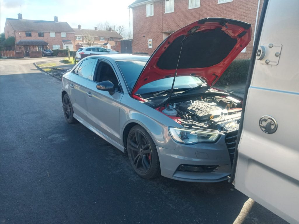 Audi A3 Mobile DPF cleaning process in Coventry