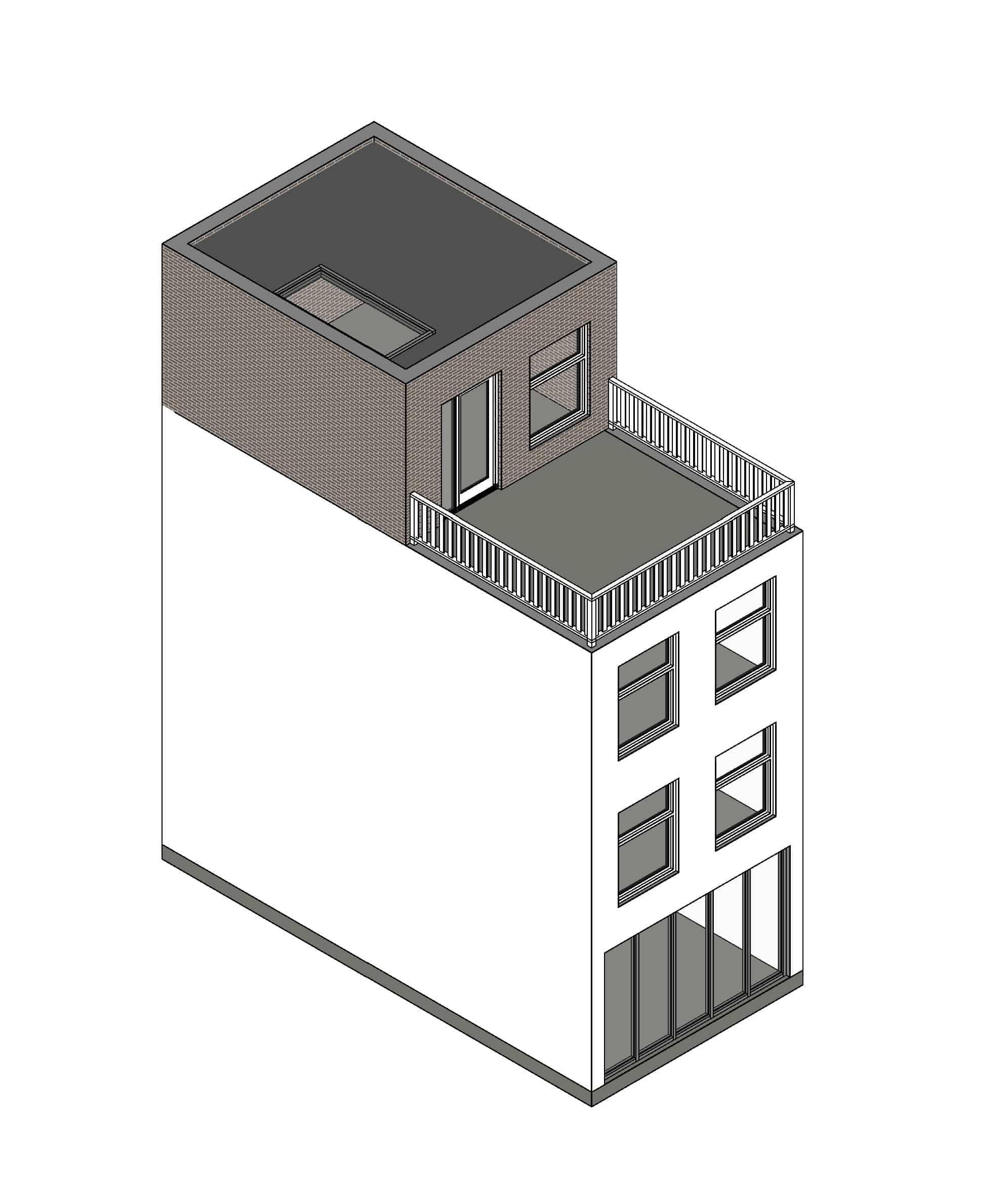 dakopbouw plat dak met dakterras voorbeeld
