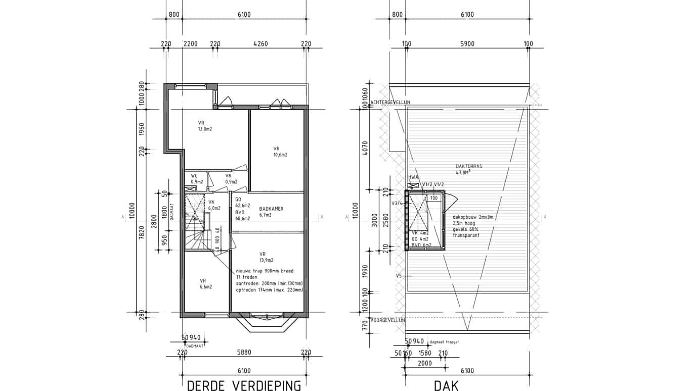 dakterras en dakopbouw bouwtekening