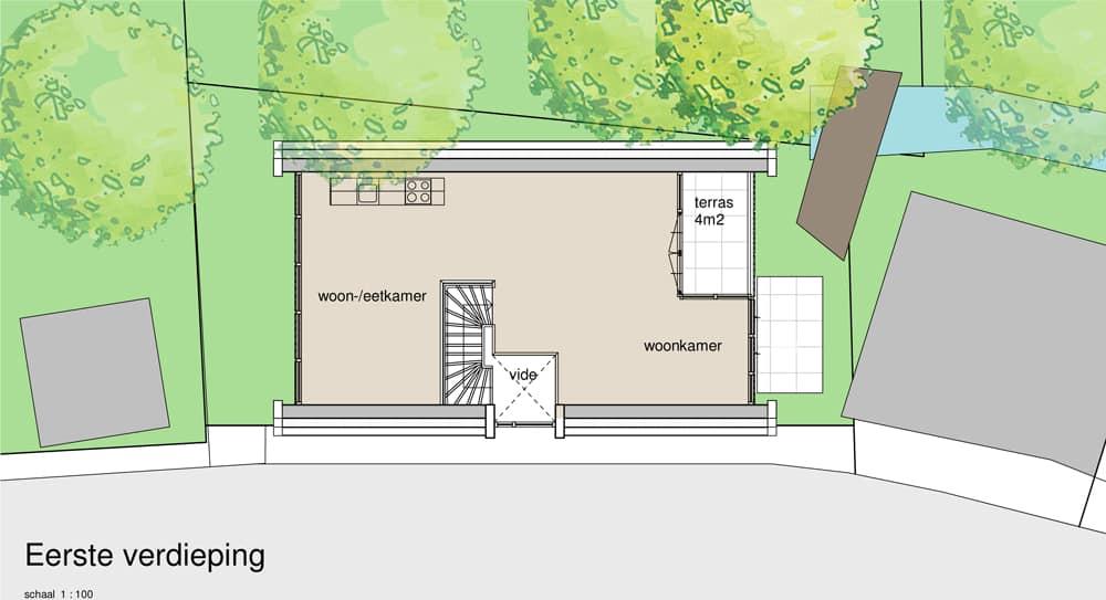 Huis ontwerpen Leiden verdieping 1