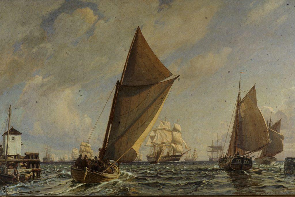 """Christian Mølsteds maleri fra 1923: """"Byens båd går ud til forhandling om bjergning af strandet engelsk damper"""" I baggrunden fregatten Jylland med lodsbåd på vej. Billedet tilhører Dragør Kommune."""