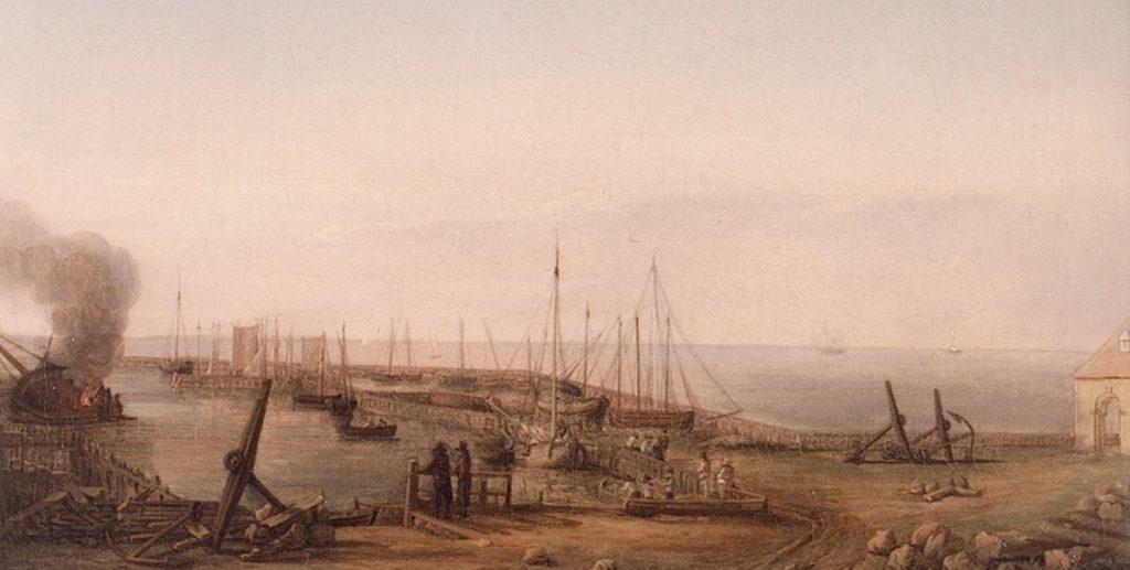 Dragør Havn 1830. Maleri af Maleri udført af Frederik Thedor Kloos.