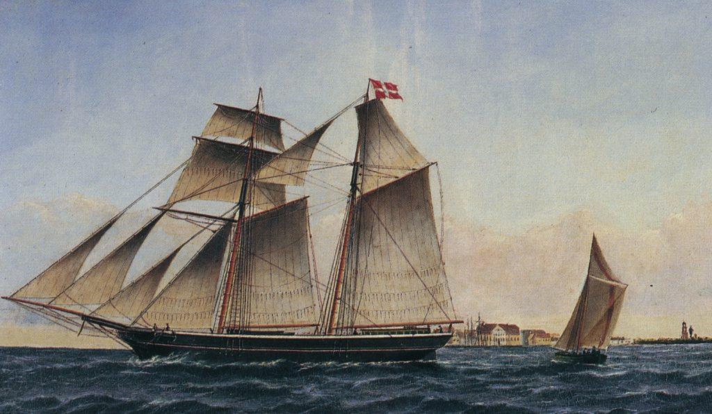 Skonnerten Fædres Minde, Maleri udført af P. Foss. 1879.