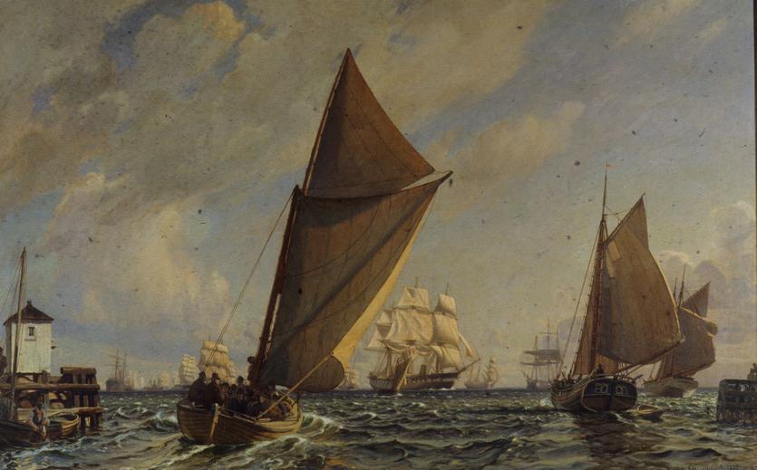Christian Mølsted: Byens båd går ud til forhandling om bjergning af strandet engelsk damper. 1923.