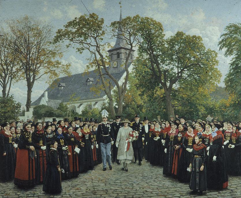 Paul Fischers maleri af kong Christian den 10.'s og dronningAlexandrines besøg i Store Magleby Kirke ved jubilæet i 1921. Maleriet hænger i dag på Amagermuseet.