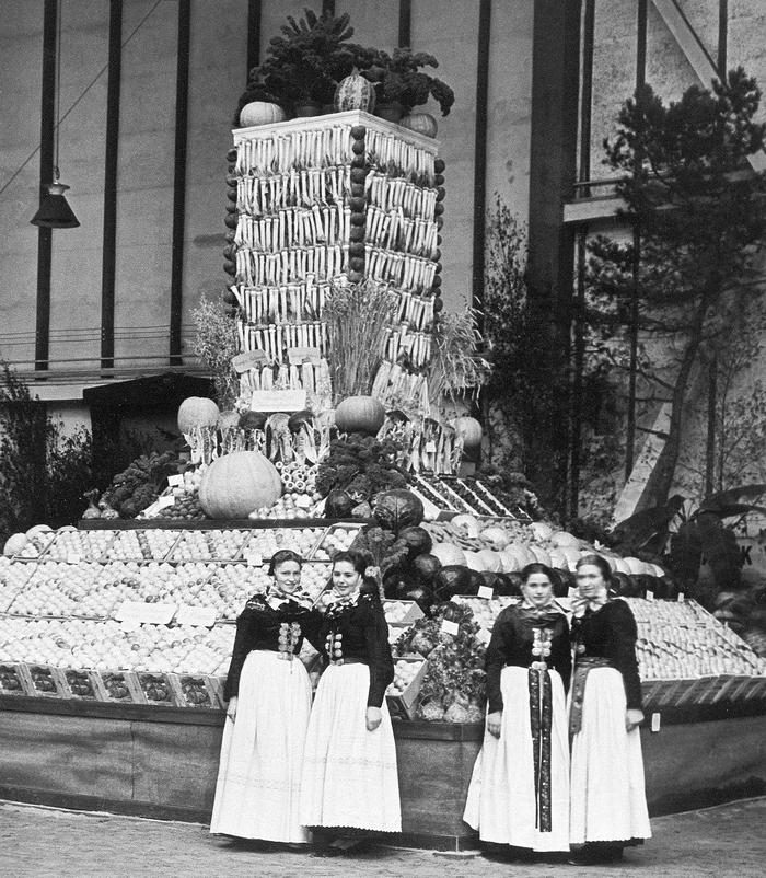 """Producentforeningen på udstilling i Forum i København i 1949. Her blev der rejst et """"grøntsagstårn"""", for at præsentere amagerbøndernes produkter."""
