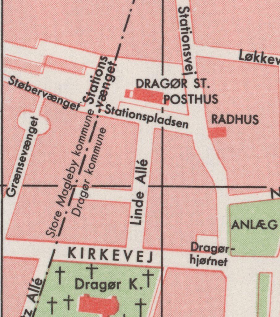 Grænsen mellem Dragør og Store Magleby Kommuner på Kraks kort fra 1966.