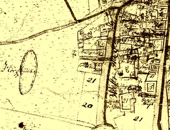 """Kort over Store Magleby omkring 1809. Til venstre ses """"Hørhuus"""" og det tilhørende vandul, Brydevælen."""