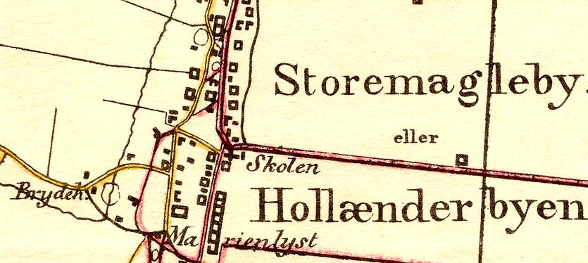 Kort fra 1843, hvor Brydehuset er markeret vest for selve Store Magleby landsb