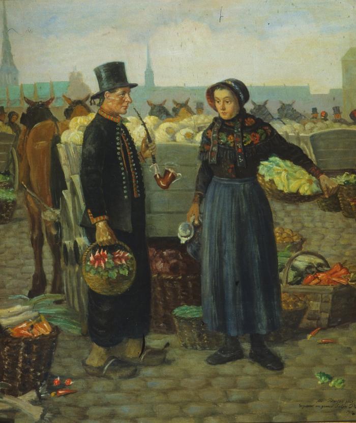 Albert Petersens maleri af amagerbønder på torvet i København. Billedet er malet i begyndelsen af 1900-tallet. Tilhører Dragør Kommune.